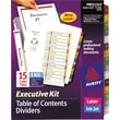 Avery Ready Index Multicolor Table of Contents Dividers, 15-Tab