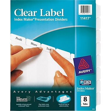 For avery labels maker for Avery 8 tab clear label dividers template