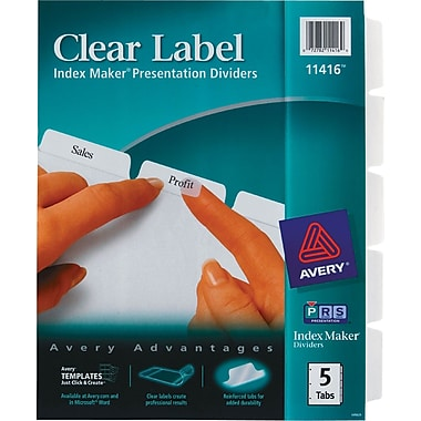 Avery® Index Maker Clear Label Tab Dividers, 5-Tab, White, 1 Set/Pack