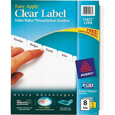 avery index maker clear label tab dividers 8 tab white 5 sets pack staples