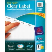 Avery Index Maker Clear Label Tab Dividers, 8-Tab, White, 5 Sets/Pack