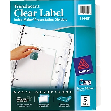 Avery Index Maker® Translucent Clear Label Tab Dividers, 5-Tab, Clear, 1 Set/Pack