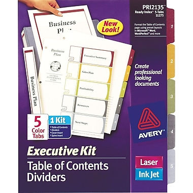 Avery® Ready Index Table of Contents Divider Executive Kit