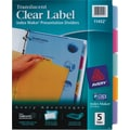 Avery Index Maker® Translucent Clear Label Tab Dividers, 5-Tab, Multicolor, 1 Set/Pack