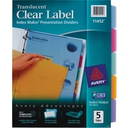 Avery® Index Maker® Translucent Clear Label Tab Dividers, 5-Tab, Multicolor, 1 Set/Pack