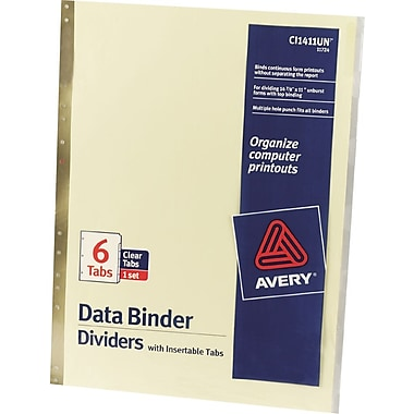Avery® 11in. x 14-7/8in. Data Binder Insertable Tab Dividers, 6-Tab, 1 Set/Pack
