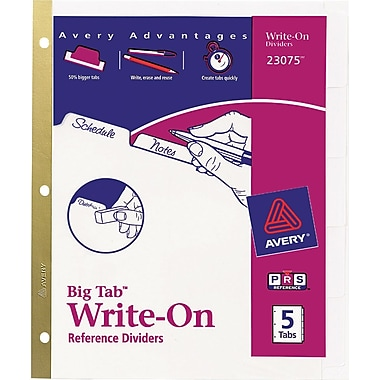 Avery® Write-On™ BIG TAB Dividers, 5-Tab Set, White Tabs