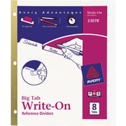 Avery® Write-On Big Tab Dividers, White, 8-Tab Set (23078)