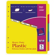 Avery 5-Tab Set, Plastic Dividers with Tab Labels