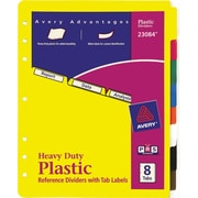 Avery 8-Tab Set, Plastic Dividers with Tab Labels