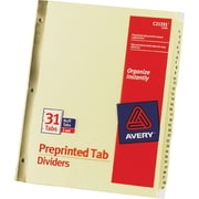 Avery® Gold Reinforced Preprinted Tab Dividers, 1-31