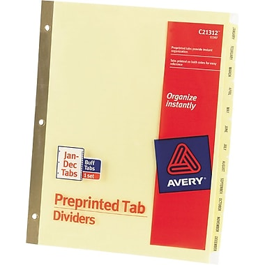 Avery® Gold Reinforced Preprinted Monthly Tab Dividers, Jan-Dec