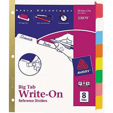 Avery® Write-On™ BIG TAB Dividers, 8-Tab Set, Color Tabs