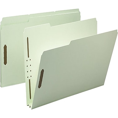 Staples® Gray/Green Pressboard Fastener Folders, Letter, 2/5-Cut Tab, 2in. Expansion, 25/Box
