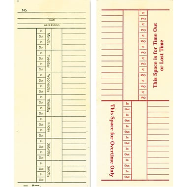 Adams Double-Sided Time Cards, Model 9660, 3 3/8in. x 8 1/4in.