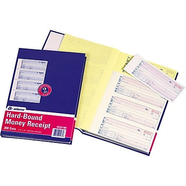 Adams Carbonless Hardbound Receipt Books, 7 5/8in. x 11in., 2 Part