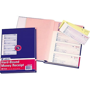Adams Carbonless Hardbound Receipt Books, 7-5/8in. x 11in., 3 Part