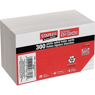 Staples® White Ruled Index Cards, 3