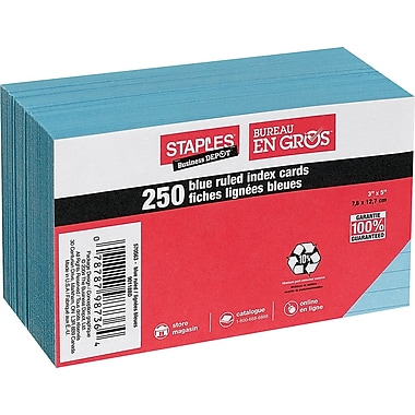 Staples® Blue Ruled Index Cards, 3
