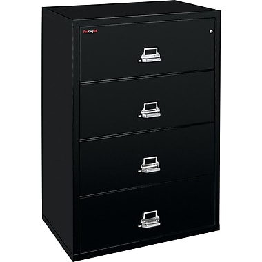FireKing 1-Hour 31in. Fire Resistant Lateral File Cabinets, Black
