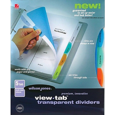 Wilson Jones® View Tab Transparent Dividers Rectangular Tabs