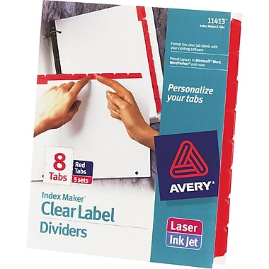 Avery Index Maker® White Dividers with Color Tabs for Laser and Inkjet Printers, 8-Tab, Red