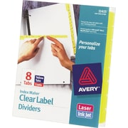 Avery Index Maker® White Dividers with Color Tabs for Laser and Inkjet Printers, 8-Tab, Yellow