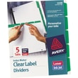 Avery Index Maker® White Dividers with Color Tabs for Laser and Inkjet Printers, 5-Tab, Green