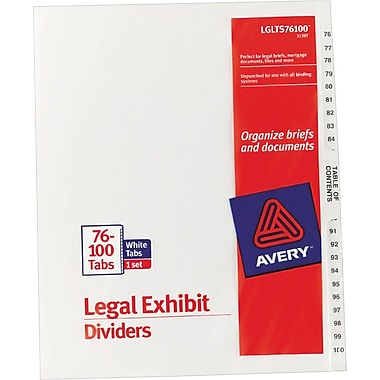Avery® Legal Exhibit Dividers, 76-100
