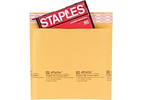Staples® QuickStrip™ Bubble Wrap® Cushioned CD Mailers, 7-1/4' x 7-1/4', 12/Pack