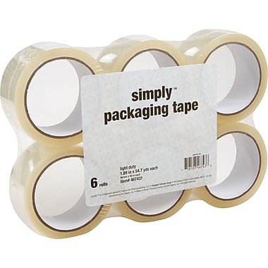 Simply Economy-Grade Packaging Tape, Clear, 1.89in. x 54.7 yds, 6 Rolls