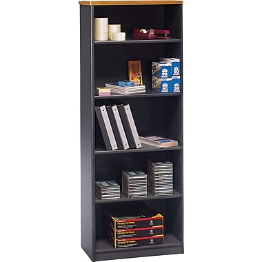 Bush® Cubix Collection 5-Shelf Bookcase, Natural Cherry & Slate Grey