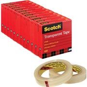 Scotch® Transparent Tape 600, 3/4x72 yds, 3 Core, 12/Pack