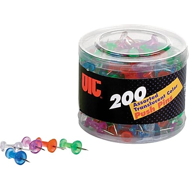 OIC® Translucent Push Pins, 200/Tub