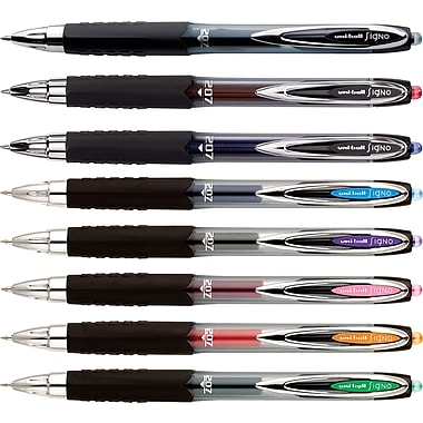 uni-ball® 207™ Retractable Gel-Ink Pens, Medium Point, Assorted, 8/Pack