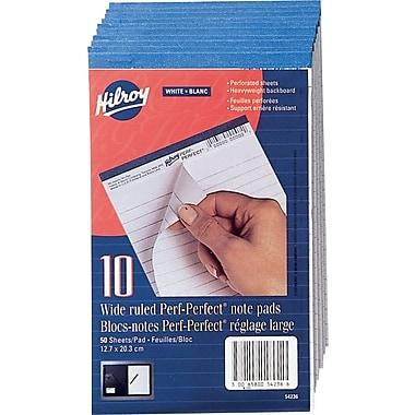 Hilroy - Bloc-notes avec perforations, 5 po x 8 po, réglage large, blanc, 50 feuilles, paq./10