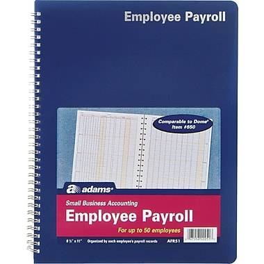 Adams® Employee Payroll Record Book, 8-1/2in. x 11in.