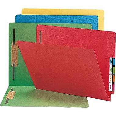 Smead Colored Reinforced End-Tab Fastener Folders, LETTER-size Holds 8 1/2in. x 11in., Assorted Colors, 50/Bx