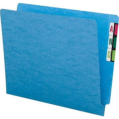 Smead® Colored Reinforced  End-Tab File Folders, Letter, Blue, 100/Box