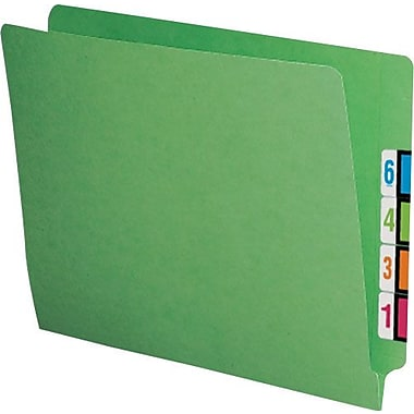 Smead® Colored Reinforced End-Tab File Folders, Letter, Green, 100/Box
