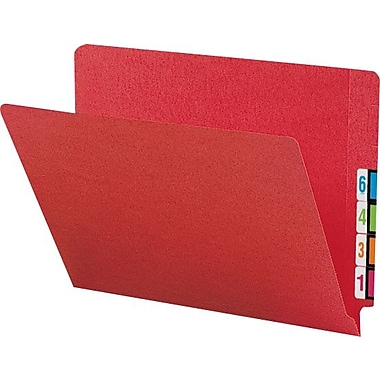 Smead® Colored Reinforced  End-Tab File  Folders, Letter, Red, 100/Box