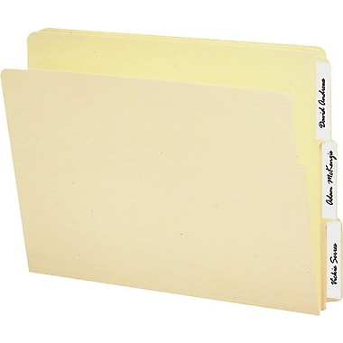 Smead® Reinforced End-Tab Folders, Letter, 3 Tab, Assorted Positions,  9in. Front, 100/Box