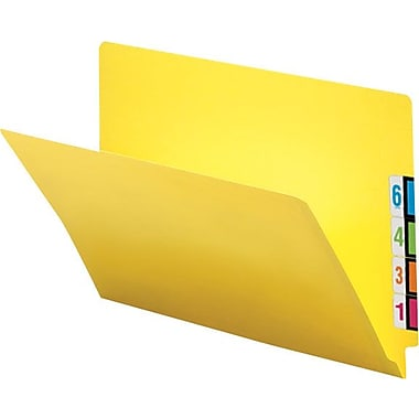 Smead® Colored Reinforced  End-Tab File Folders, Letter, Yellow, 100/Box