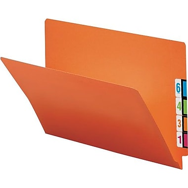 Smead® Colored Reinforced  End-Tab Folders, Letter, Orange, 100/Box