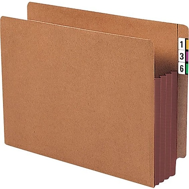 Smead® Extra-Wide End-Tab Expanding File Pockets, Letter, 5 1/4in. Expansion, 10/Box
