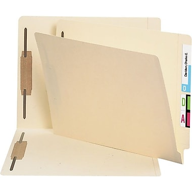 Staples® Manila End Tab Fastener Folders with Reinforced Tab, 2 Fasteners in Positions 1 & 3, Letter Size