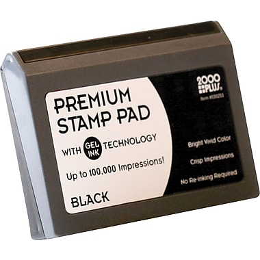 Cosco® 2000 Plus® Gel-Based Stamp Pad, Black, #2- 3 1/8in. x 6 1/16in.