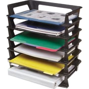 Rubbermaid Regeneration® Black Plastic Stackable Side-Load Letter-Size Tray, 6/Pack (Recycled)