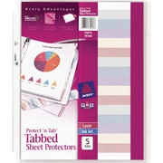 5-Tab Set Avery Protect 'n Tab Sheet Protectors