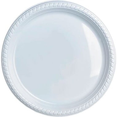 Staples® Plastic Plates,  9in., White, 50/Pack